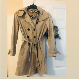 Burberry trench coat with detachable hood